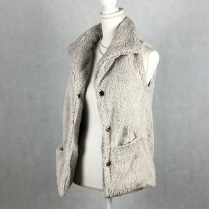 Sz Small Stillwater Beige Fuzzy Vest